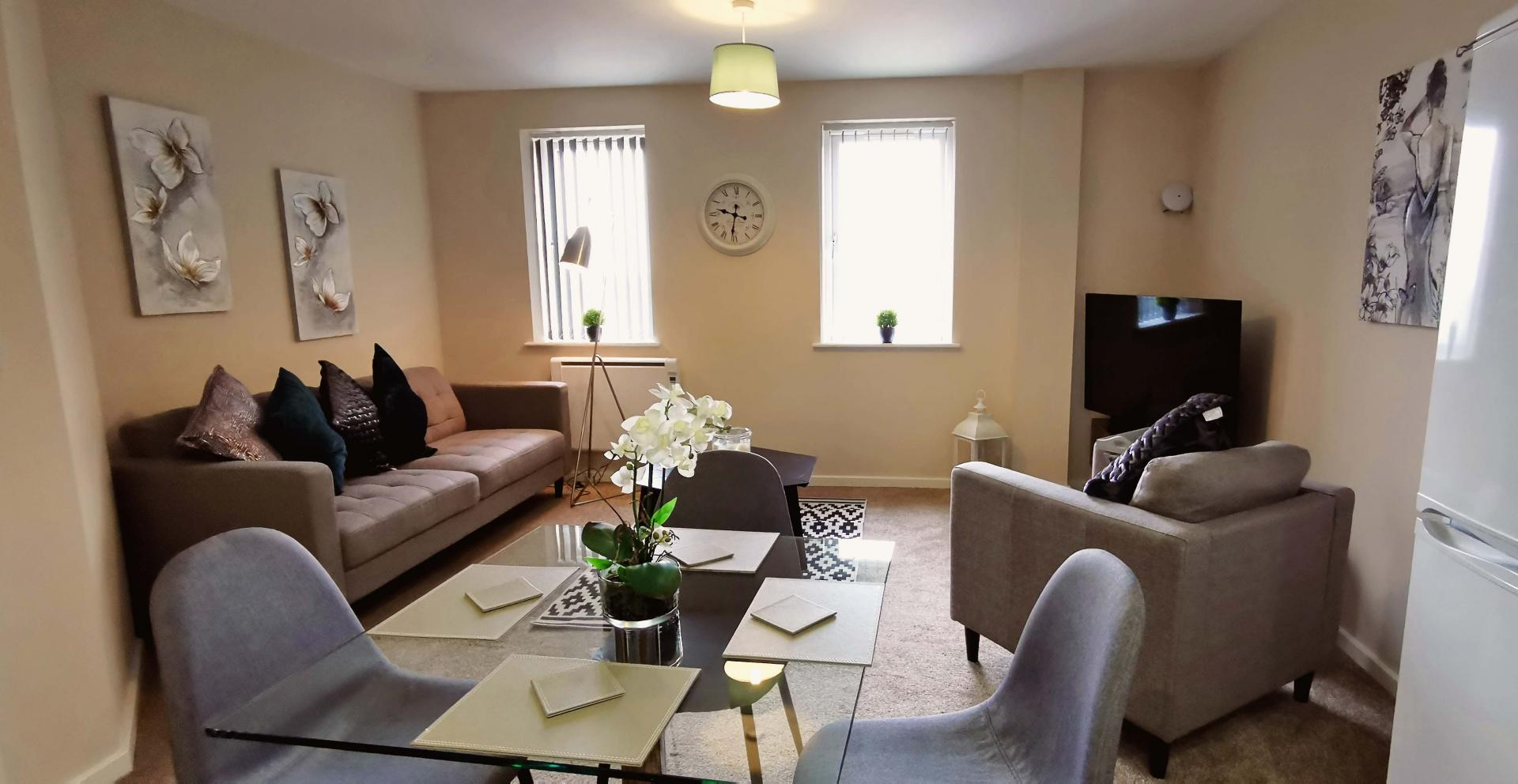 Open-plan living area at Centauri Park Rise Apartments - Citybase Apartments