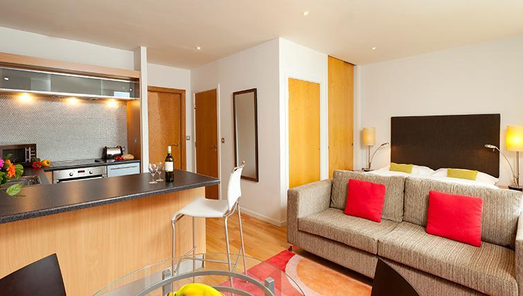 Stylish living area in SACO Birmingham - Brindley Place - Citybase Apartments