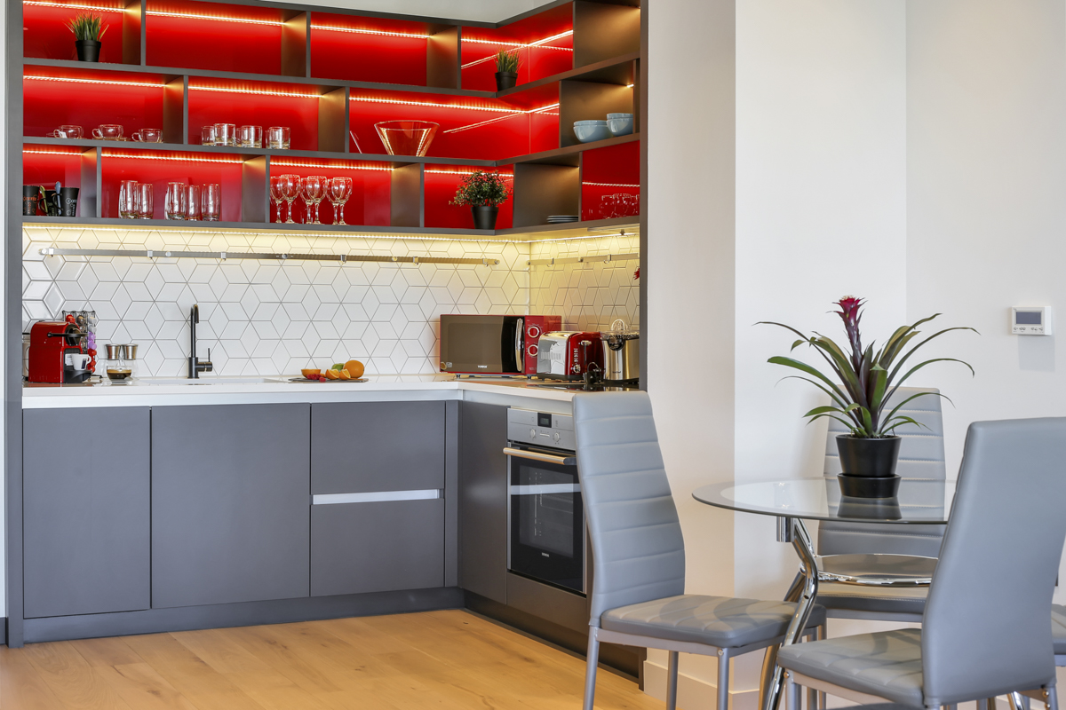 Kitchen at Modena Serviced Apartments - Citybase Apartments