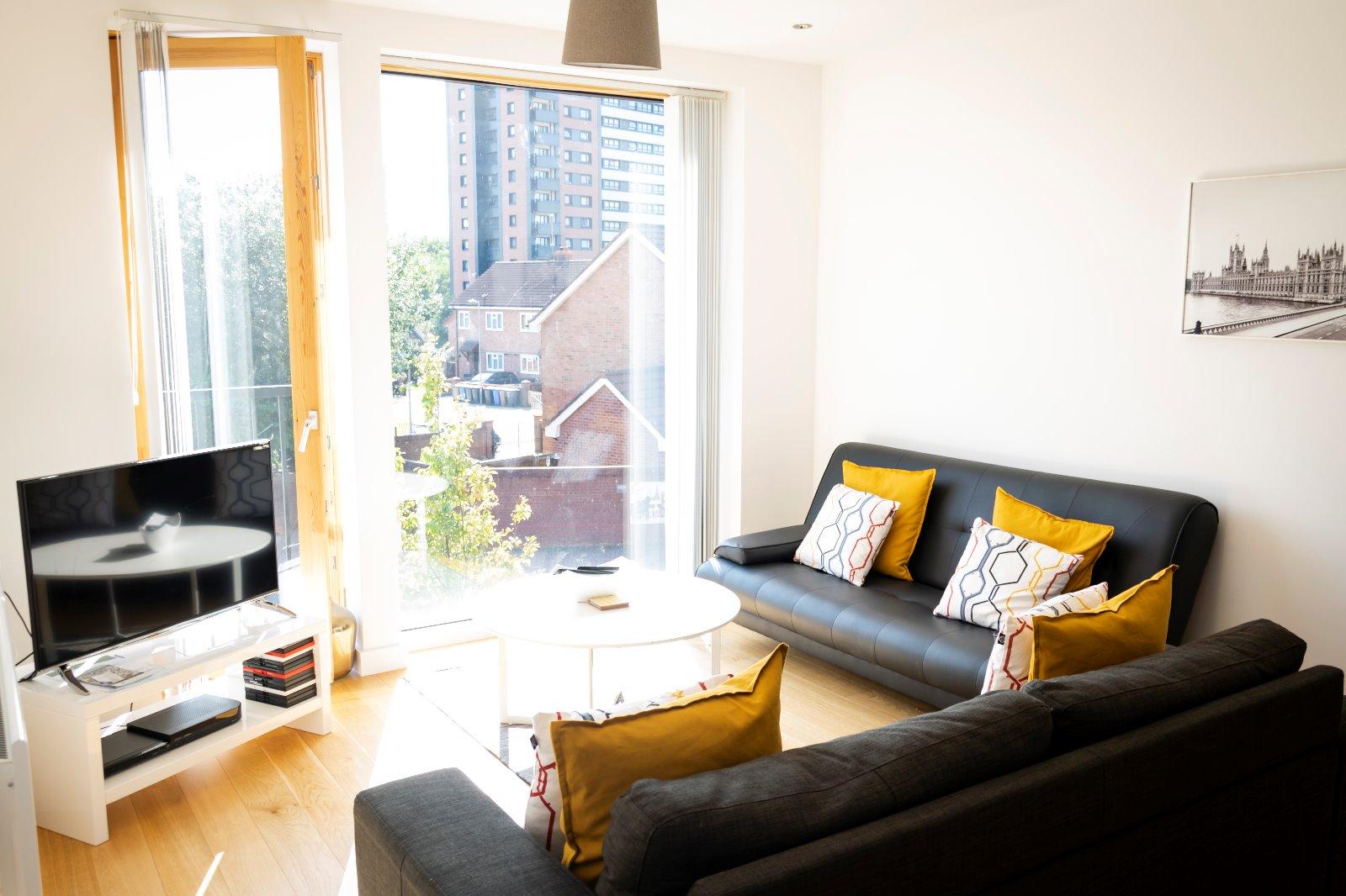 Bright living area at Ekhaya Apartments - Citybase Apartments