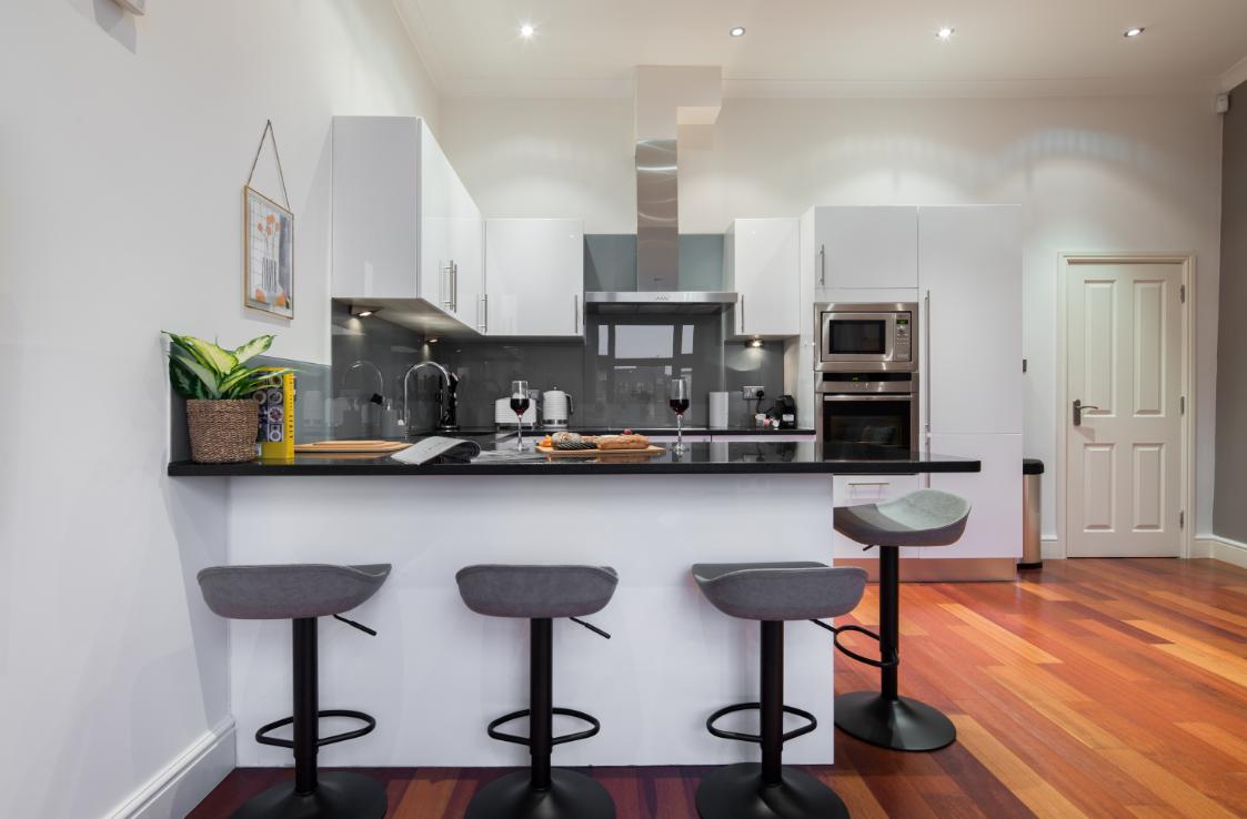 Bar stools at Lexham Gardens Apartments - Citybase Apartments