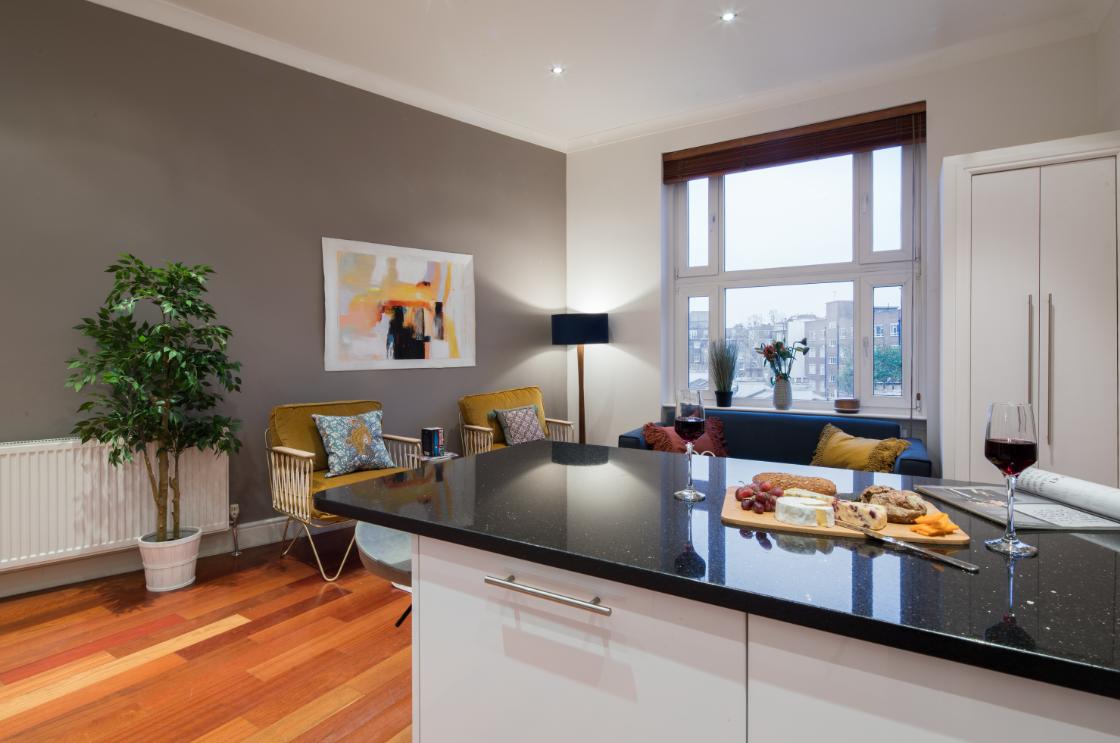 Bright kitchen area at Lexham Gardens Apartments - Citybase Apartments