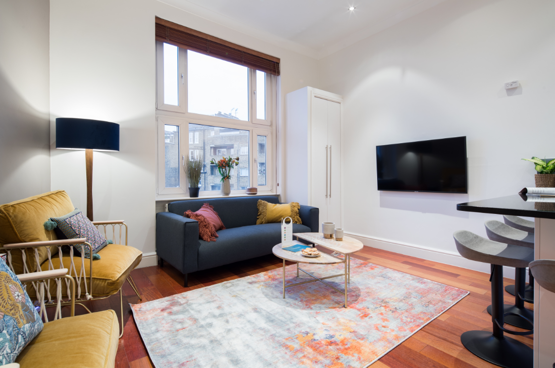Living room at Lexham Gardens Apartments - Citybase Apartments