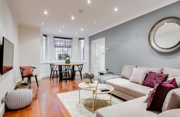 Stylish living room at Lexham Gardens Apartments - Citybase Apartments