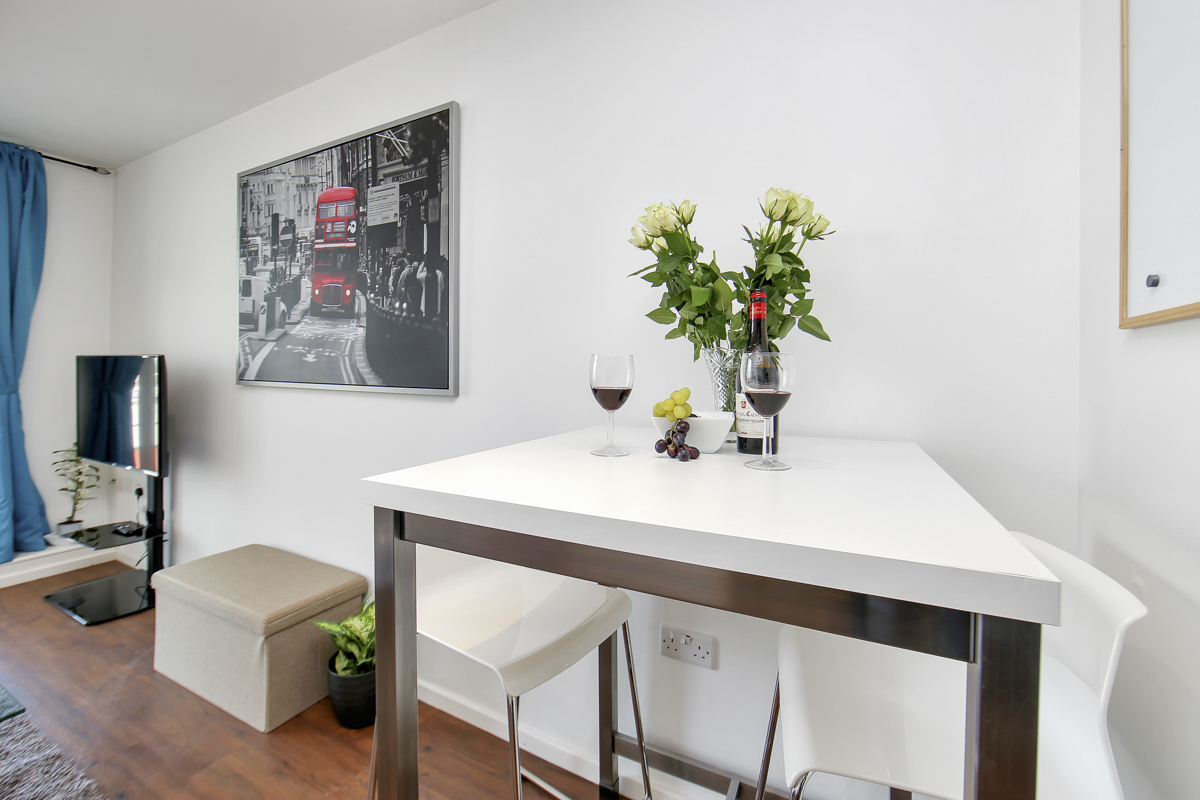 Dining area at Oxygen Apartments - Citybase Apartments