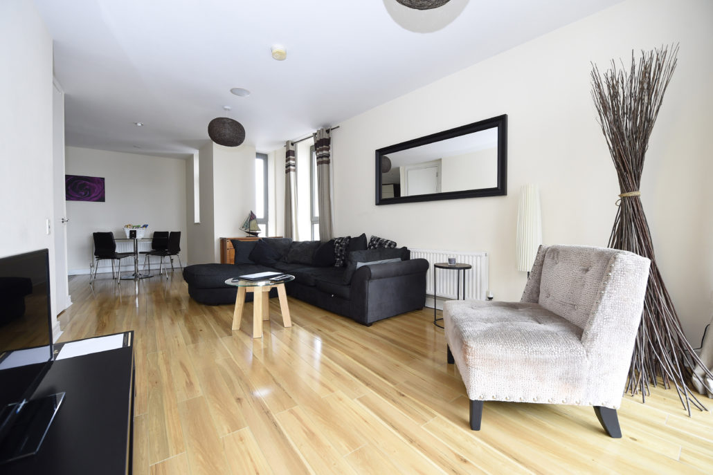Living room at Titanic Arc Apartments - Citybase Apartments