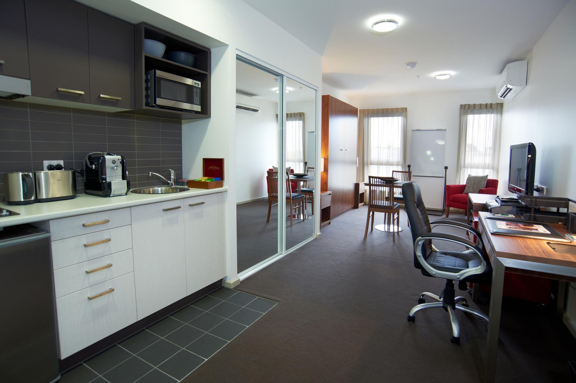 Desk area at Quest Werribee - Citybase Apartments