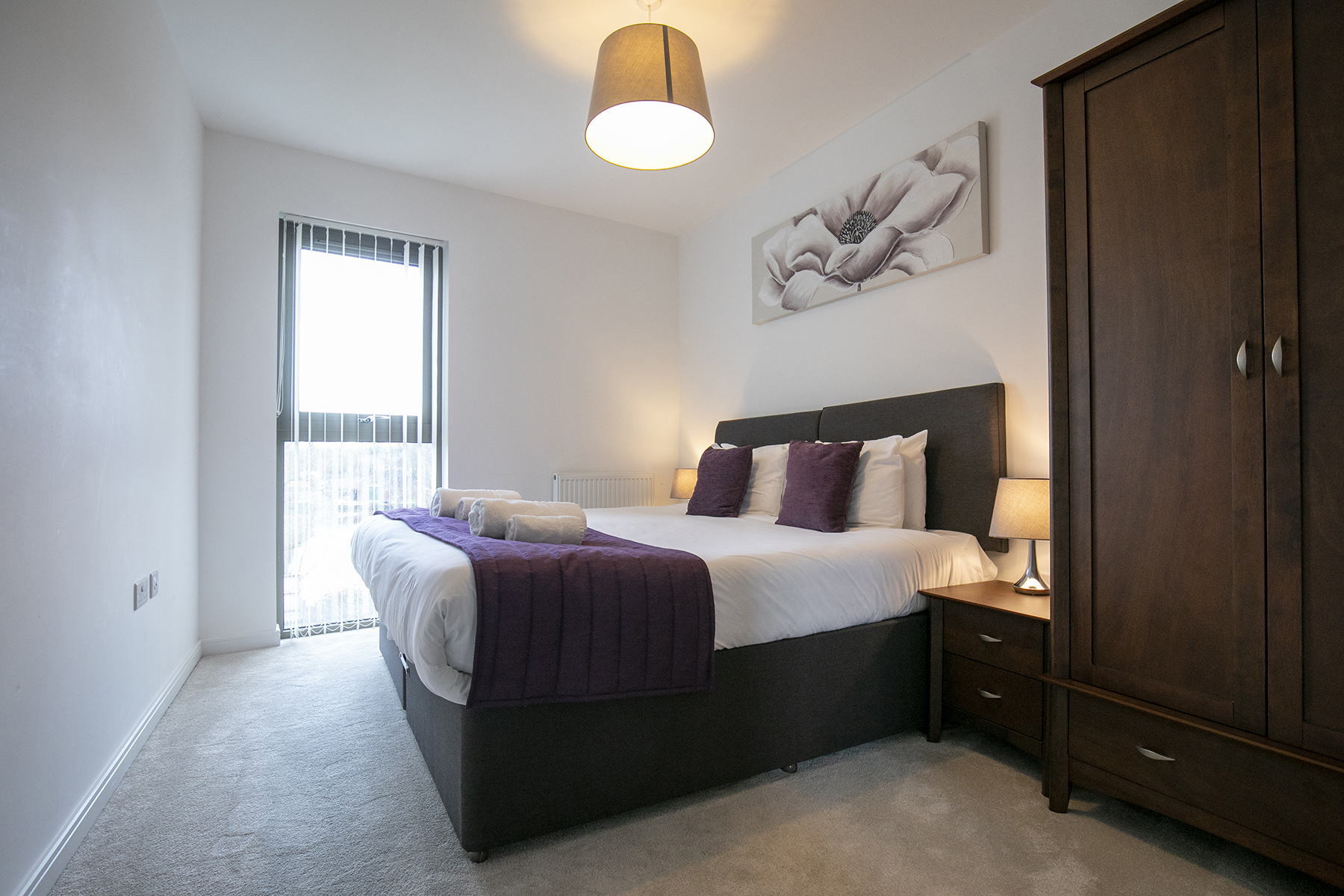 Purple bed at Wey Corner Apartment, Centre, Guildford - Citybase Apartments