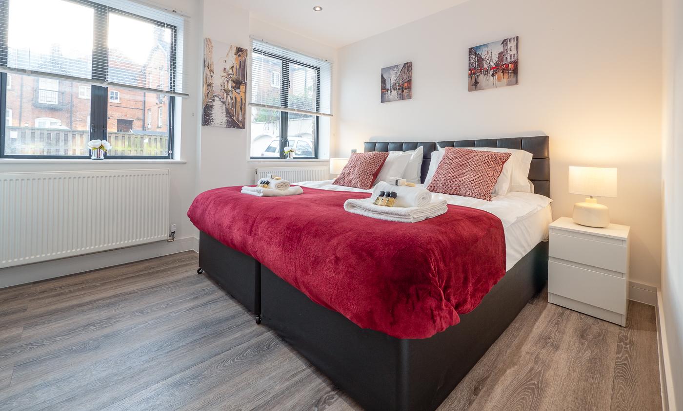 Bright bedroom at Kings Lodge Apartments - Citybase Apartments