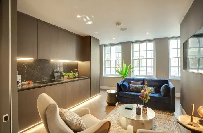 Modern living area at Soho Serviced Apartments - Citybase Apartments