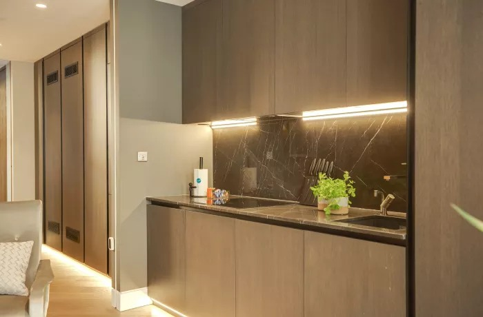 Kitchen area at Soho Serviced Apartments - Citybase Apartments