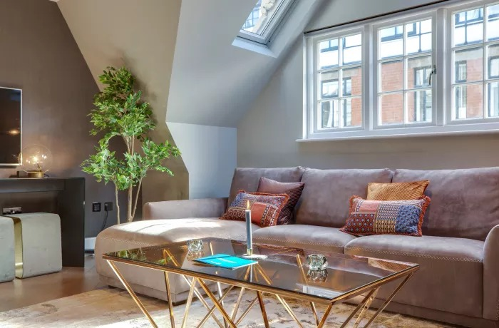 Bright living room at Soho Serviced Apartments - Citybase Apartments