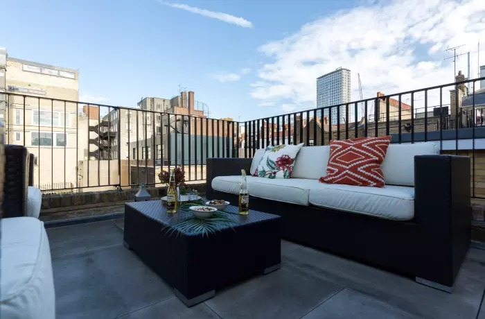 Outdoor seating at Soho Serviced Apartments - Citybase Apartments