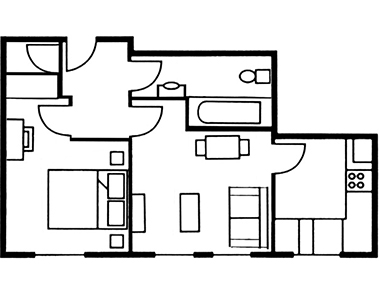 1 bed floor plan at The Knight Residence, Old Town, Edinburgh - Citybase Apartments