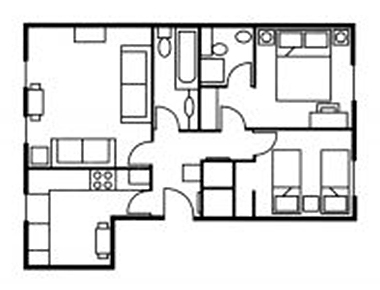 2 bed floor plan at The Knight Residence, Old Town, Edinburgh - Citybase Apartments