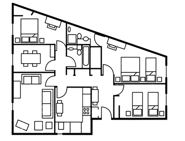 3 bed floor plan at The Knight Residence, Old Town, Edinburgh - Citybase Apartments