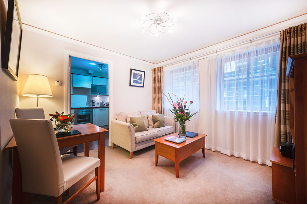 Living area at The Knight Residence, Old Town, Edinburgh - Citybase Apartments