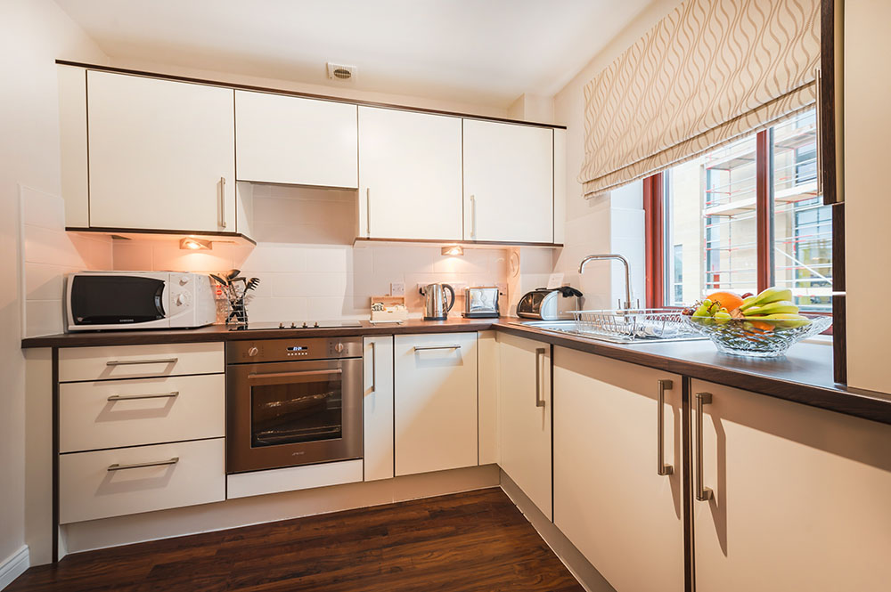 Modern kitchen at The Knight Residence, Old Town, Edinburgh - Citybase Apartments