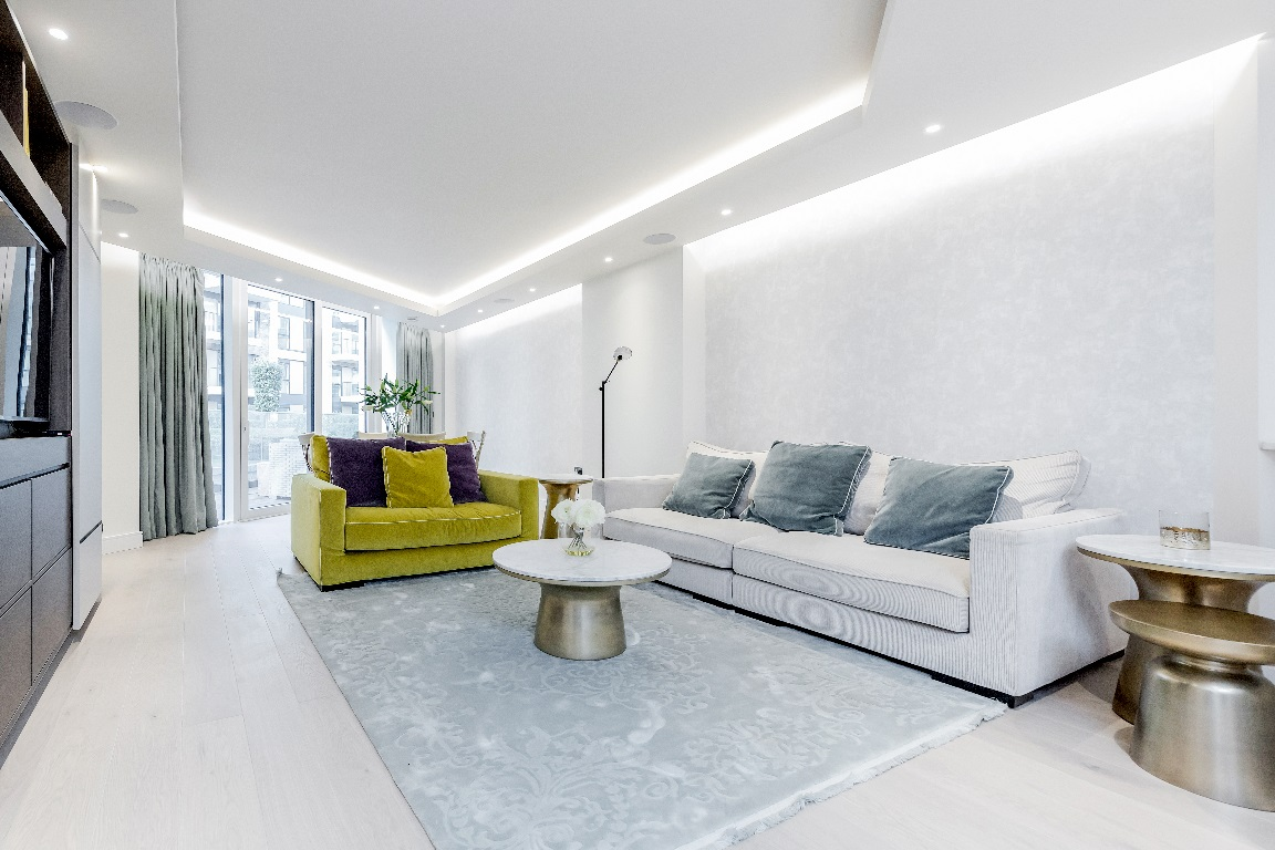 Living room at The Chelsea Pads, Imperial Wharf, London - Citybase Apartments
