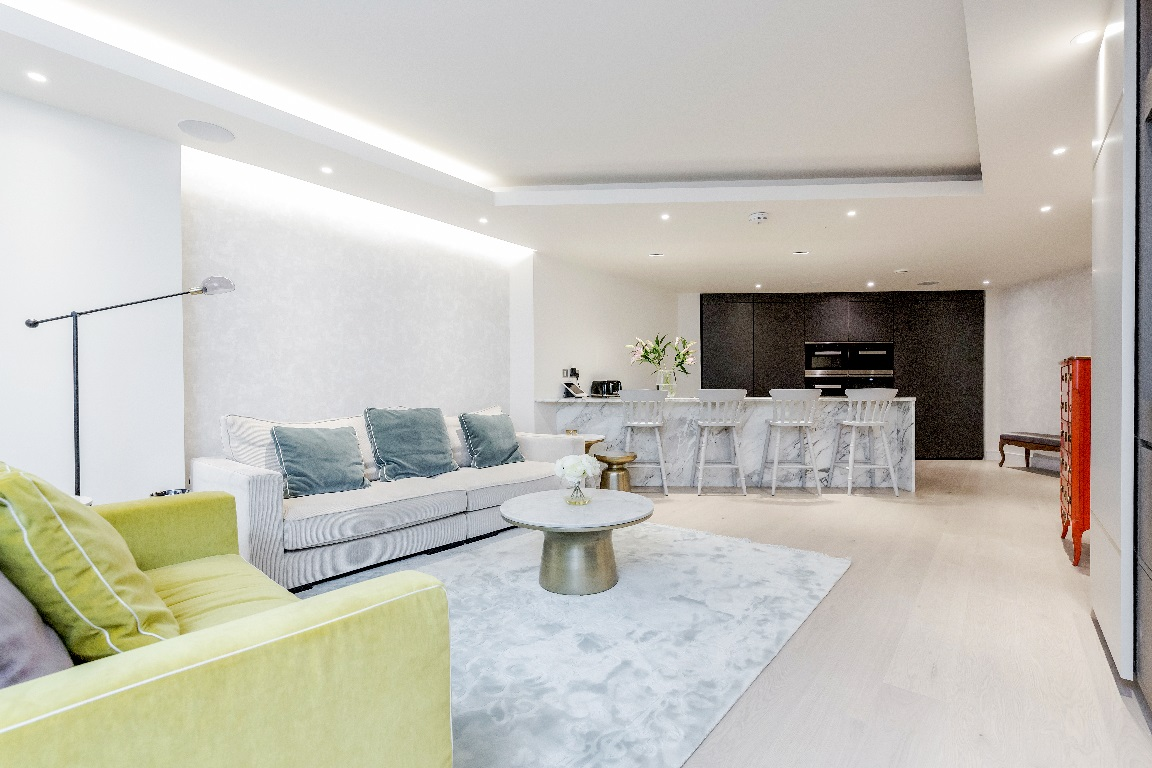 Living area at The Chelsea Pads, Imperial Wharf, London - Citybase Apartments