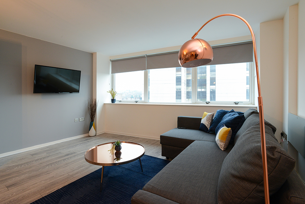 Living room at Marco Island Serviced Apartment - Citybase Apartments
