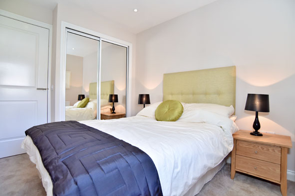Double bed at Oldmill Road Apartments - Citybase Apartments