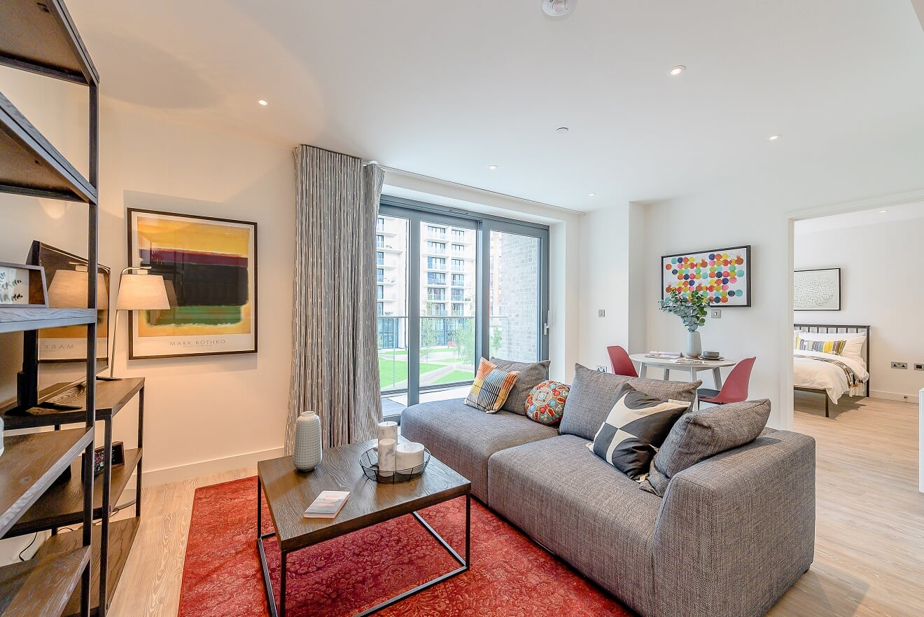 Living area at Wembley Park Apartments - Citybase Apartments