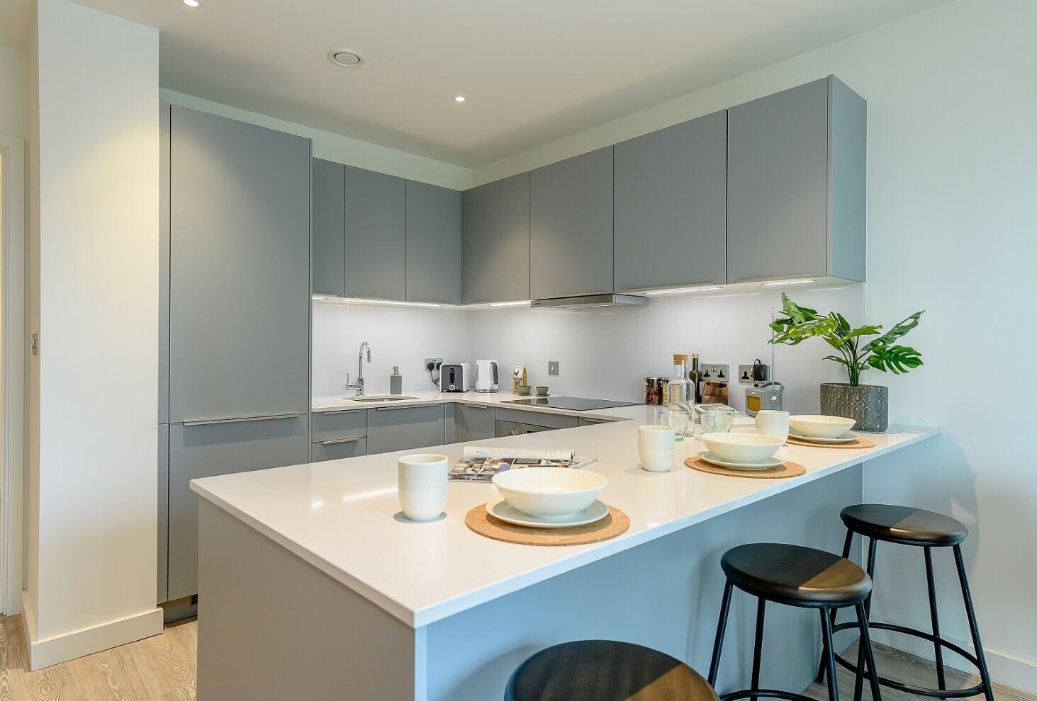 Modern kitchen at Wembley Park Apartments - Citybase Apartments