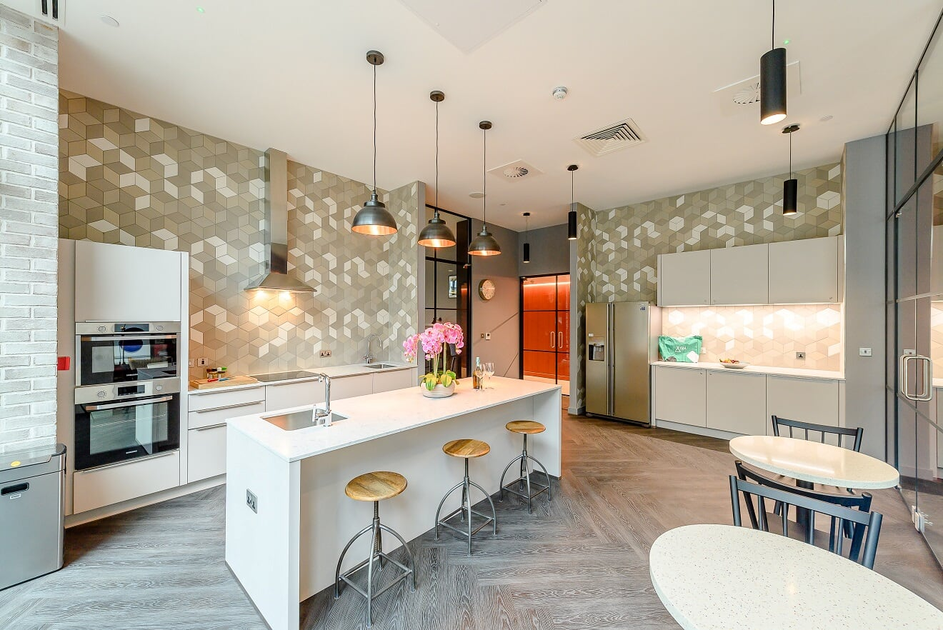 Communal large kitchen at Wembley Park Apartments - Citybase Apartments