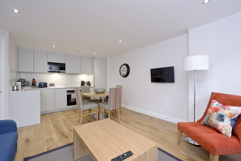 Spacious living area at New Town Serviced Apartments - Citybase Apartments