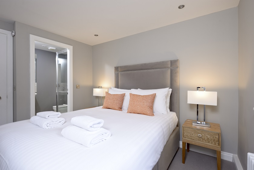 Double bed at New Town Serviced Apartments - Citybase Apartments