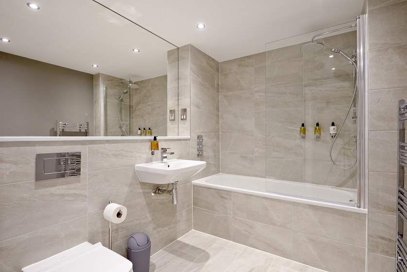 Contemporary bathroom at New Town Serviced Apartments - Citybase Apartments
