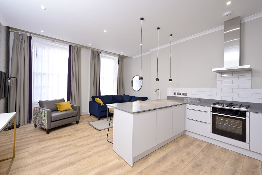 Kitchen facilities at Charlotte Square Apartments - Citybase Apartments