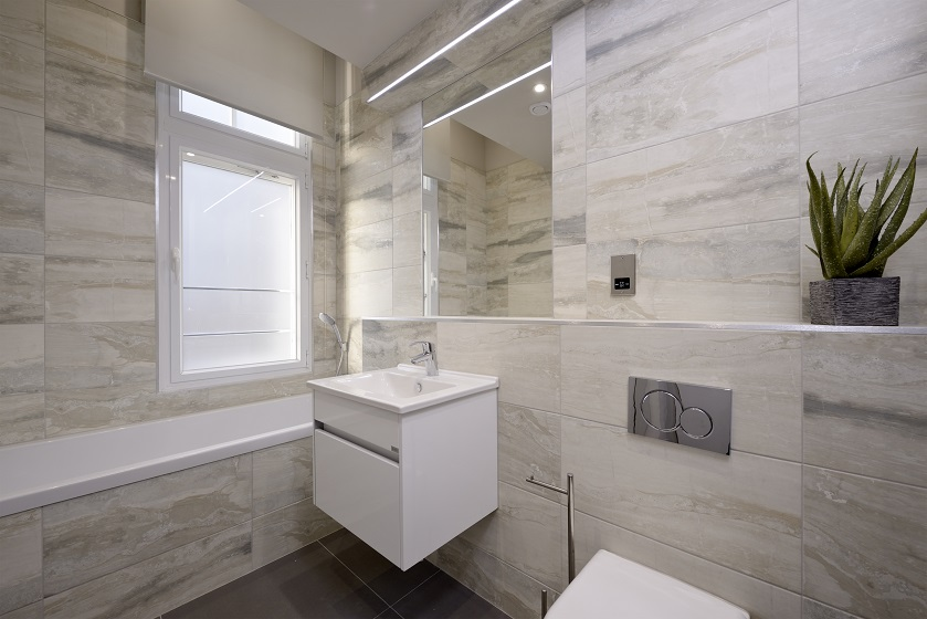 Modern bathroom at Charlotte Square Apartments - Citybase Apartments