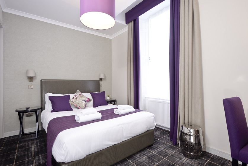 Double bed at Charlotte Square Apartments - Citybase Apartments