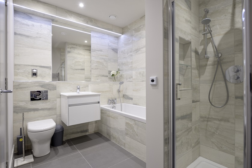 Shower at Charlotte Square Apartments - Citybase Apartments