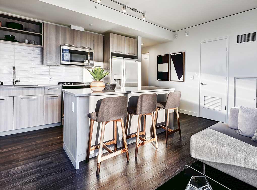 Open Floor Plan Kitchen at AMLI Arc Corporate Housing - Citybase Apartments