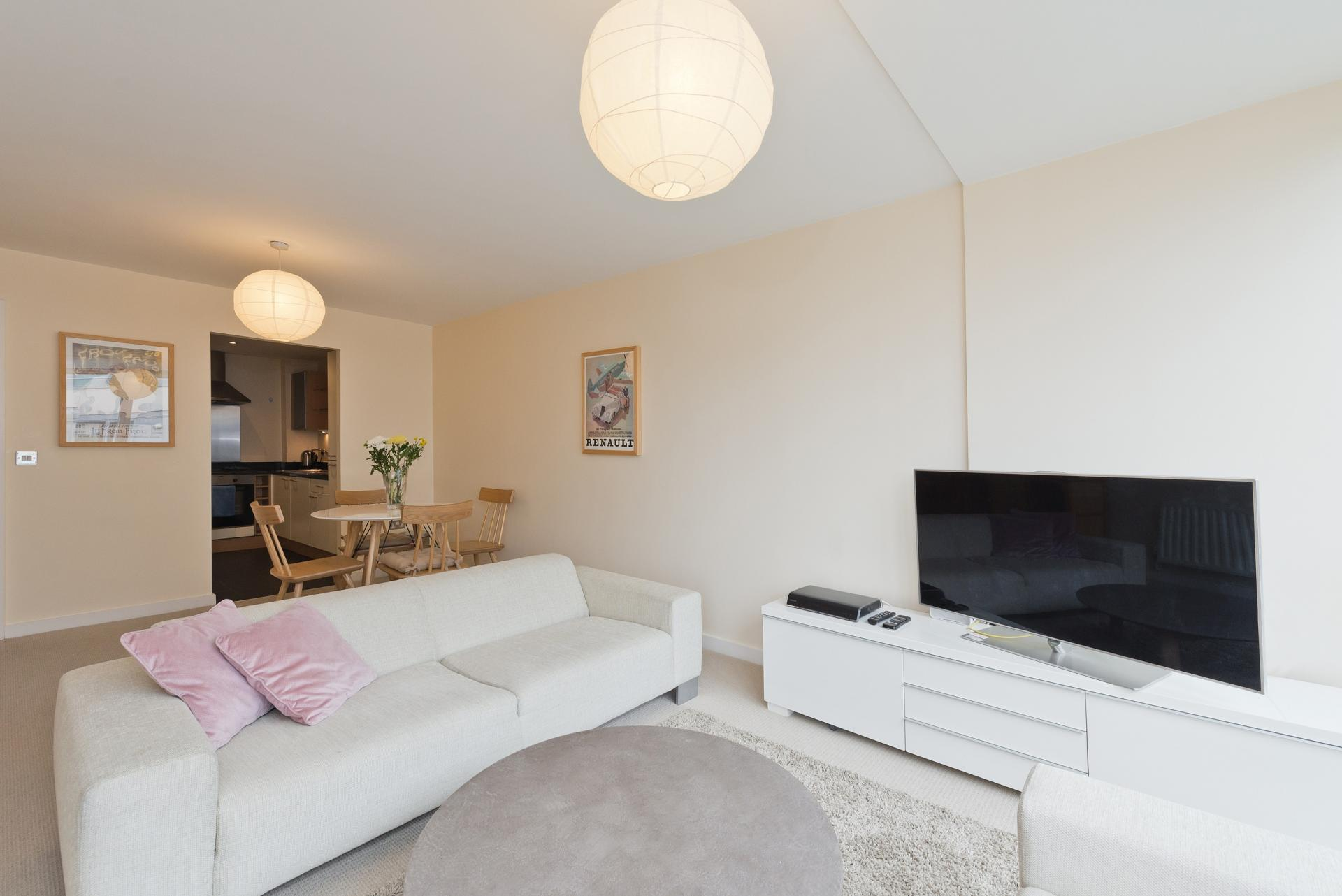 Open-plan living area at The Gasworks Adoor Apartments - Citybase Apartments