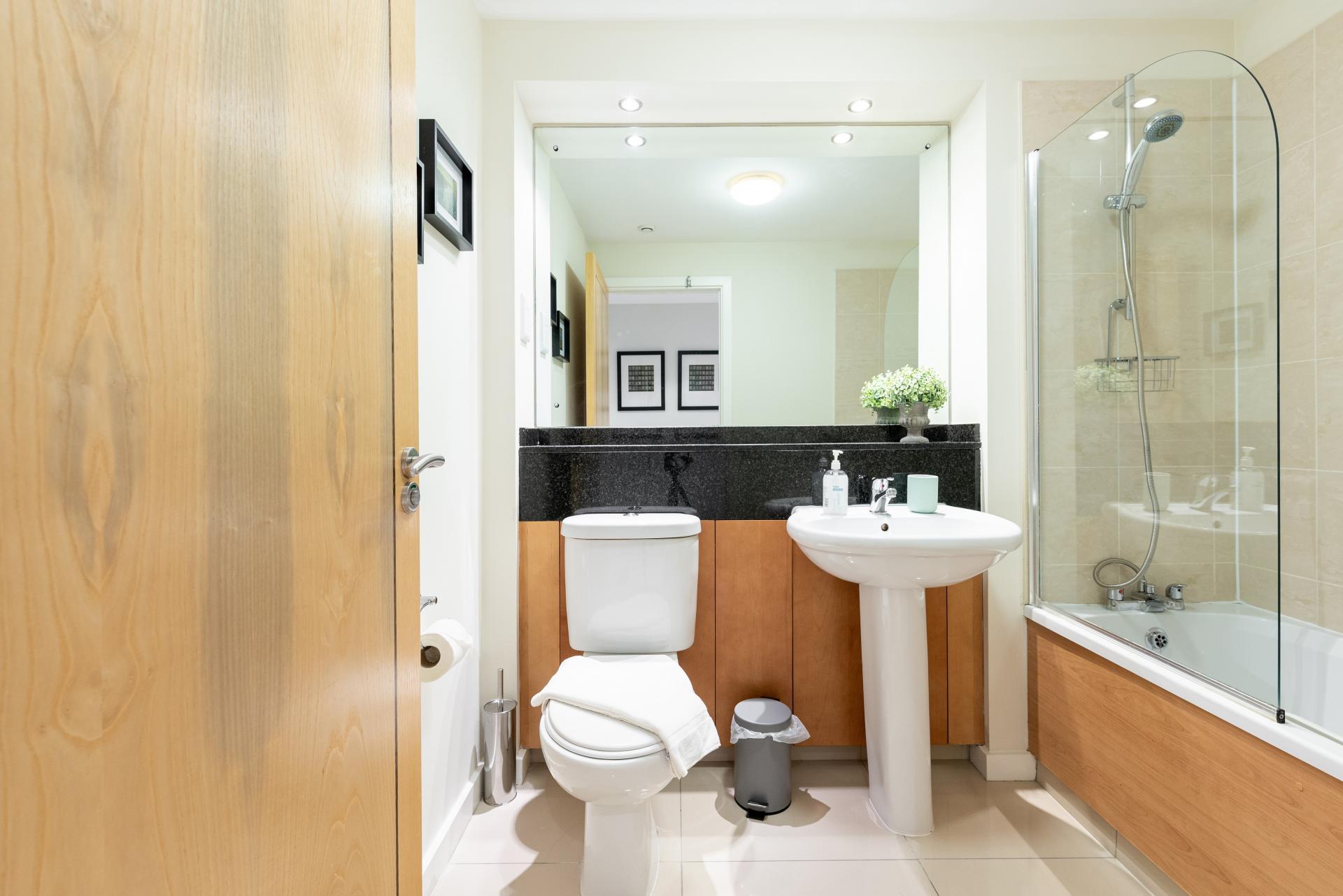 Bathroom at The Gasworks Adoor Apartments, Grand Canal Dock, Dublin - Citybase Apartments