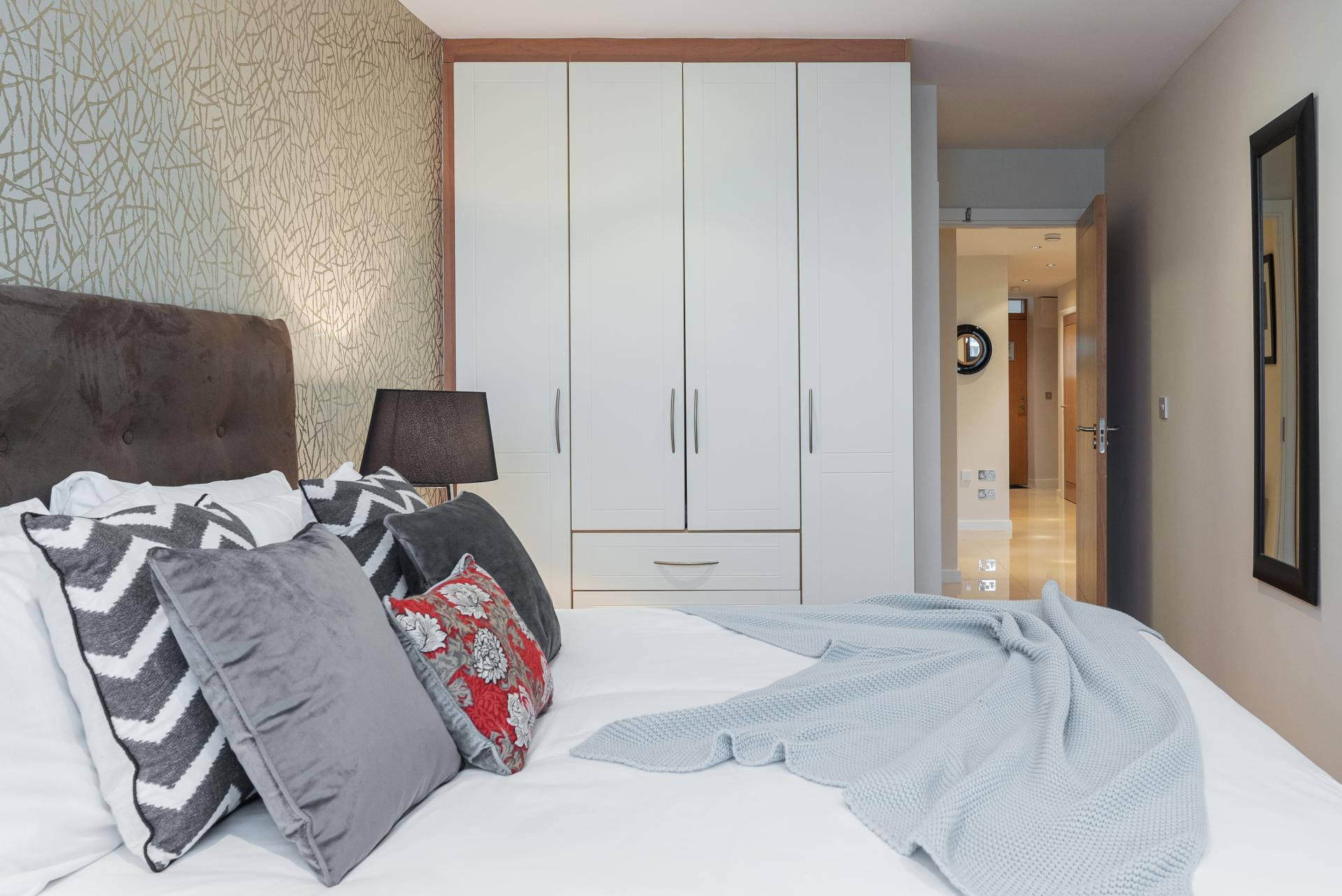 Bed at The Gasworks Adoor Apartments, Grand Canal Dock, Dublin - Citybase Apartments