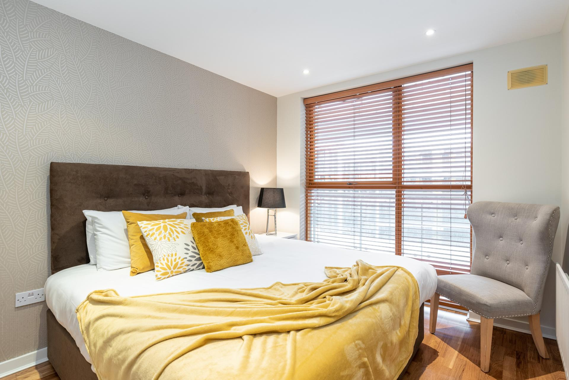 Double bed at The Gasworks Adoor Apartments, Grand Canal Dock, Dublin - Citybase Apartments
