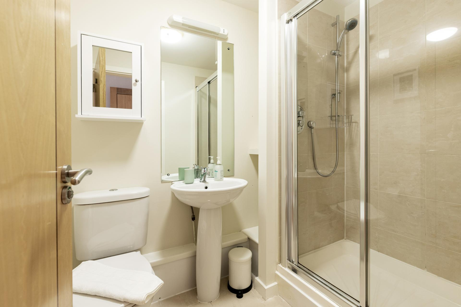 Shower at The Gasworks Adoor Apartments, Grand Canal Dock, Dublin - Citybase Apartments