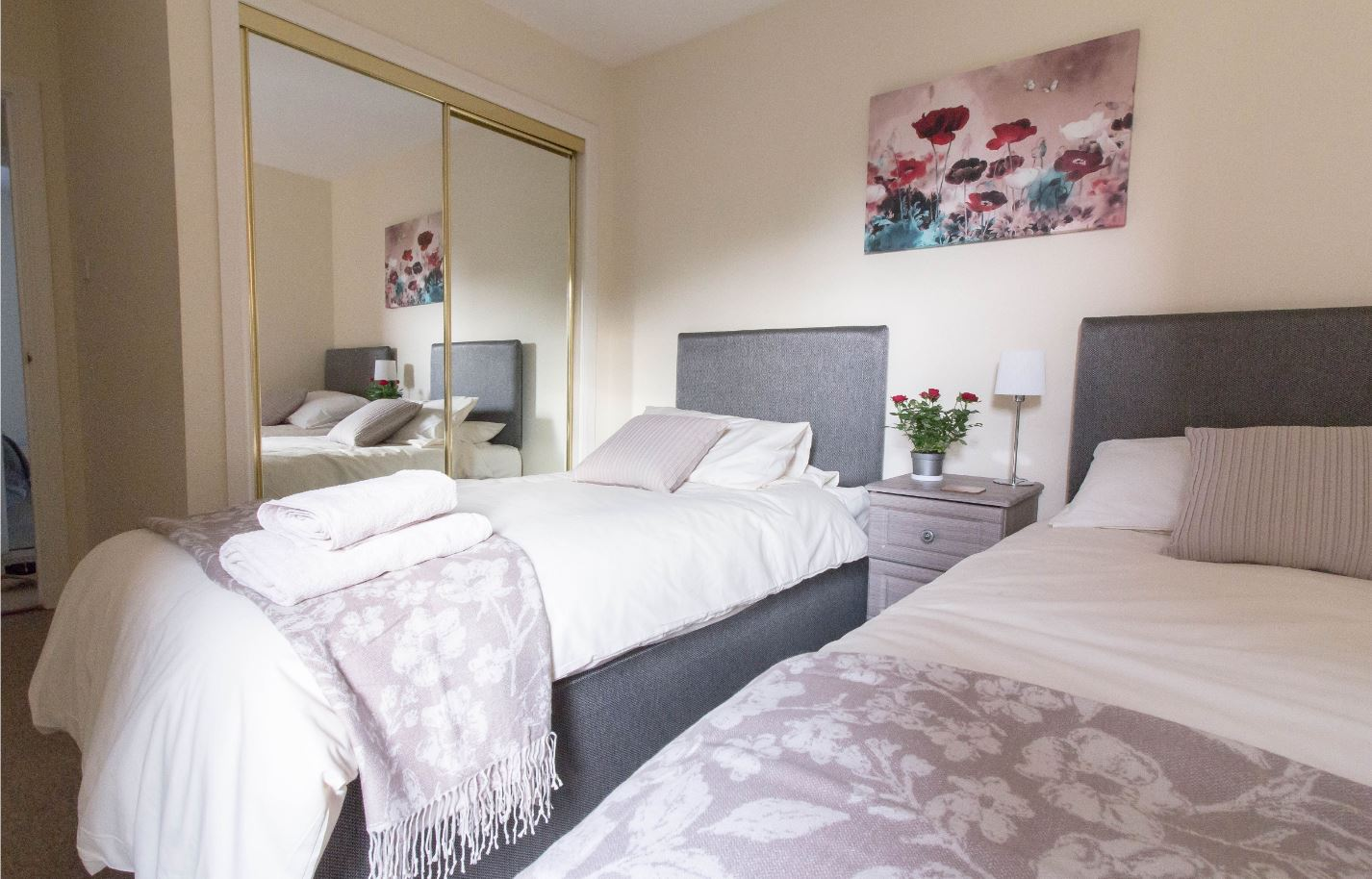 Bright bedroom at South Groathill Serviced Apartment - Citybase Apartments
