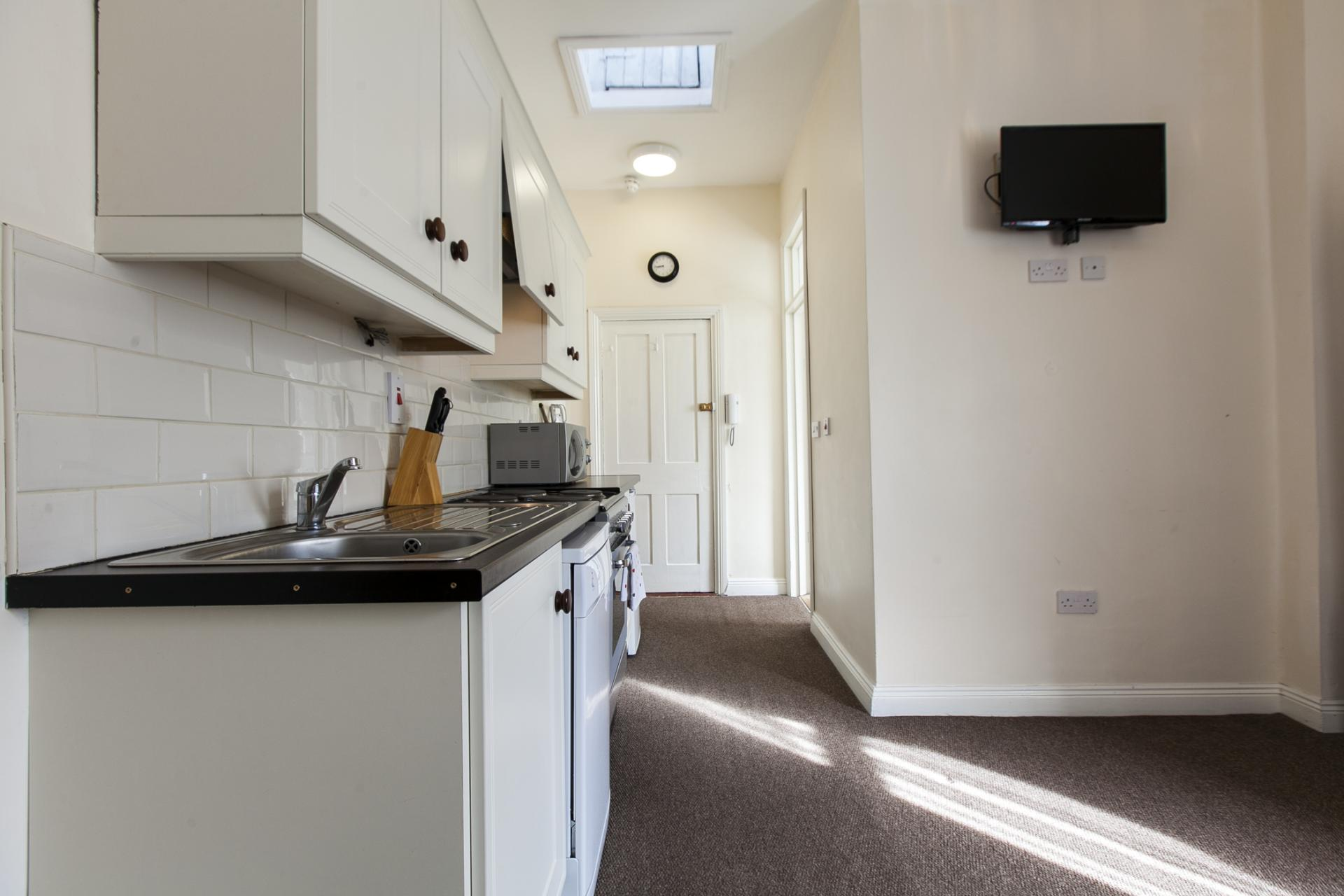 Kitchen area at Tyrconnell Road Apartments - Citybase Apartments