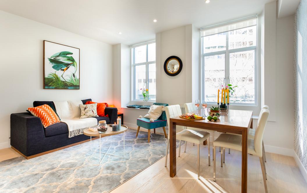 Modern living area at Kensington High Street Serviced Apartments - Citybase Apartments