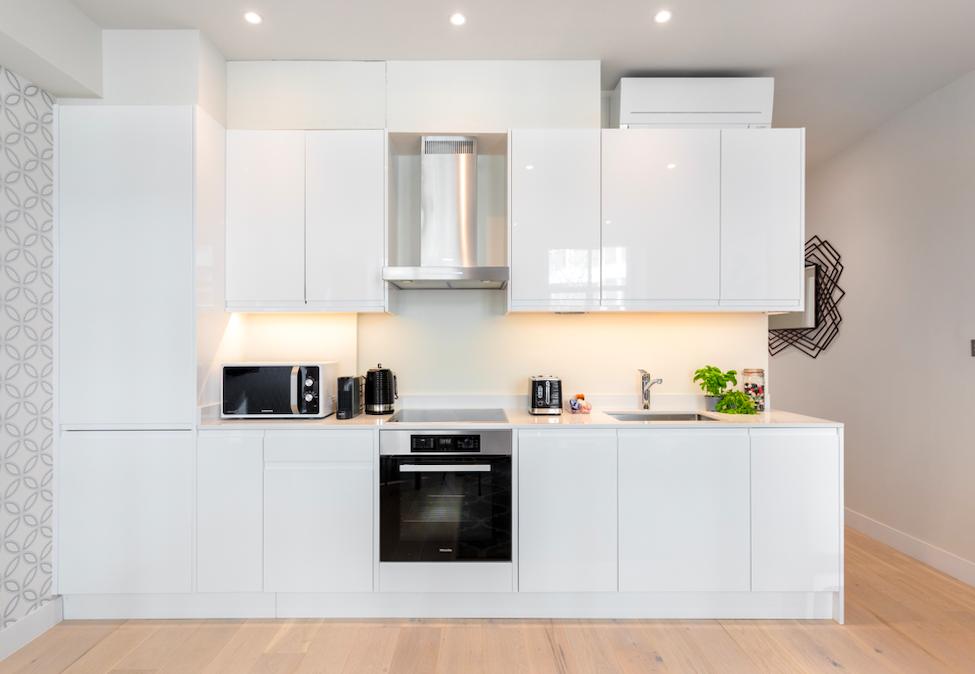 Sleek kitchen at Kensington High Street Serviced Apartments - Citybase Apartments
