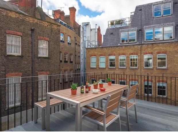 Terrace area at Kensington High Street Serviced Apartments - Citybase Apartments
