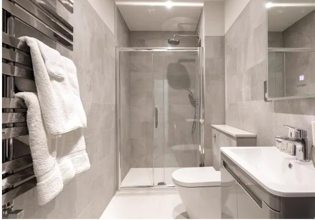 Shower at Kensington High Street Serviced Apartments - Citybase Apartments