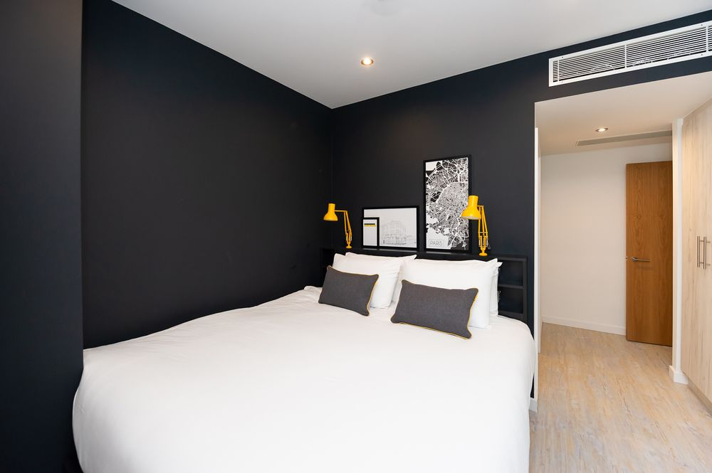 King size bed at Staycity Aparthotels Paris Marne La Vallee, Centre, Bailly-Romainvilliers - Citybase Apartments