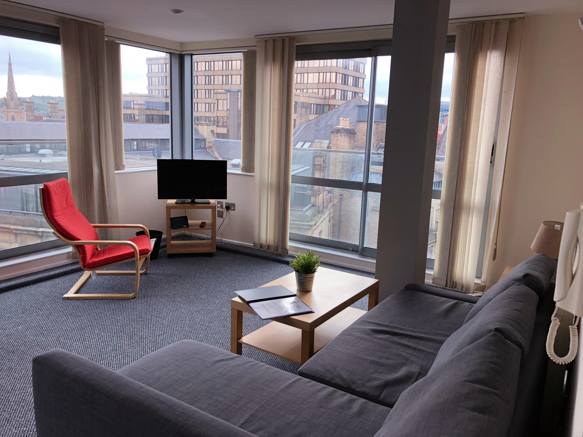 Bright living area at Broughton House Apartments - Citybase Apartments
